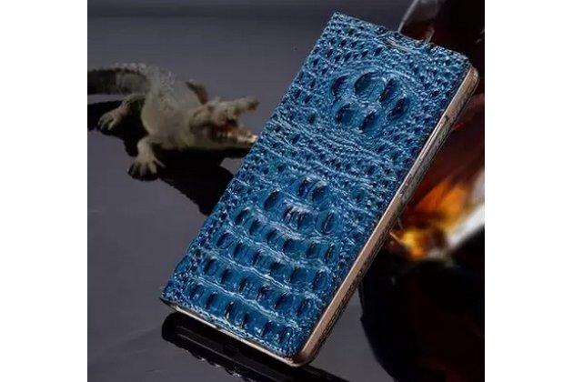 Фирменный роскошный эксклюзивный чехол с объёмным 3D изображением рельефа кожи крокодила синий для LG G3 /G3 Dual LTE D855/D856/D858. Только в нашем магазине. Количество ограничено