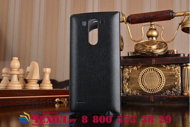 Фирменный оригинальный чехол-книжка для LG G3s Mini D724/D722 черный кожаный с окошком для входящих вызовов