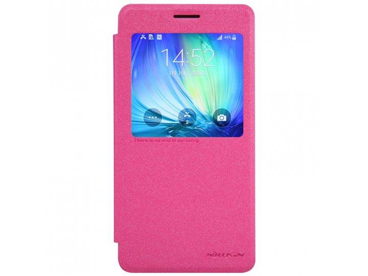 Фирменный оригинальный чехол-книжка для LG G4c H525N/LG Magna розовый с окошком для входящих вызовов..