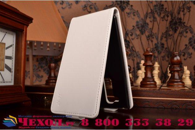 """Фирменный оригинальный вертикальный откидной чехол-флип для  LG G4c H525N белый кожаный """"Prestige"""" Италия"""