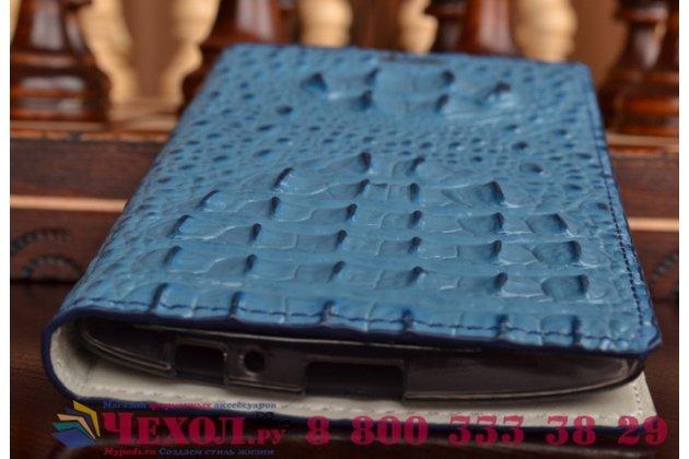Фирменный роскошный эксклюзивный чехол с объёмным 3D изображением рельефа кожи крокодила синий для LG G4 Stylus H540F / H635A / LS770 . Только в нашем магазине. Количество ограничено