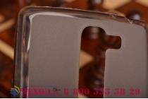 Фирменная ультра-тонкая полимерная из мягкого качественного силикона задняя панель-чехол-накладка для  LG G4c H525N серая