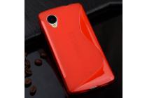 Фирменная ультра-тонкая полимерная из мягкого качественного силикона задняя панель-чехол-накладка для LG Google Nexus 5 D821 красная