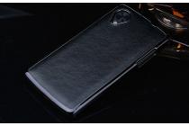 Фирменная роскошная элитная премиальная задняя панель-крышка на пластиковой основе обтянутая импортной кожей для LG Google Nexus 5 D821 королевский черный