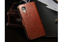 Фирменный чехол-книжка из качественной импортной кожи с мульти-подставкой застёжкой и визитницей для ЛДжи Гугл Нексус 5 Д821  коричневый