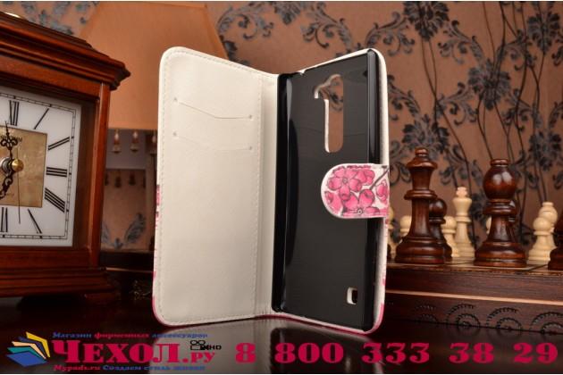 """Фирменный уникальный необычный чехол-книжка для LG Magna / G4C """"тематика цветок Сакуры"""""""