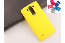 Фирменная задняя панель-крышка-накладка из тончайшего и прочного пластика для LG G3s Mini D724/D722 желтая