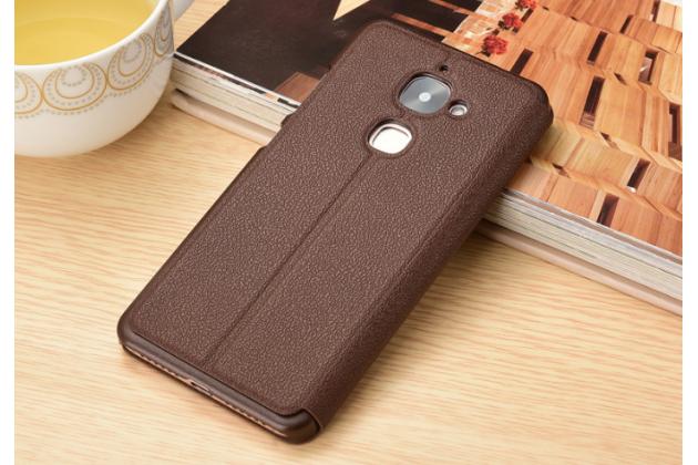 """Фирменный чехол-книжка для LeEco (LeTV) Le 2 X620"""" коричневый с окошком для входящих вызовов и свайпом водоотталкивающий"""