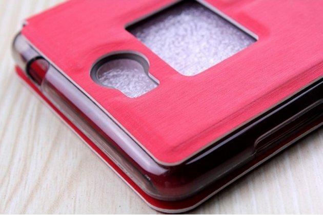 Фирменный оригинальный чехол-книжка для Leagoo Alfa 2 красный с окошком для входящих вызовов водоотталкивающий
