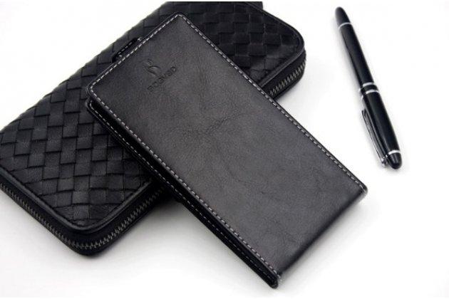 Фирменный оригинальный вертикальный откидной чехол-флип для Leagoo Alfa 2 черный из натуральной кожи Prestige Италия