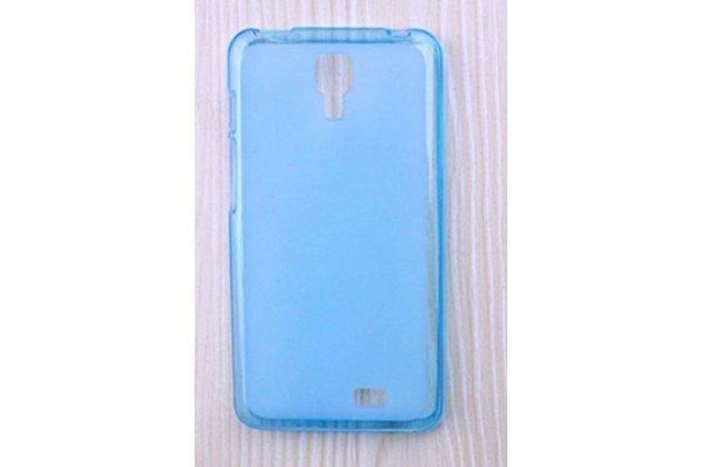 Фирменная ультра-тонкая полимерная из мягкого качественного силикона задняя панель-чехол-накладка для Leagoo Alfa 4 голубая
