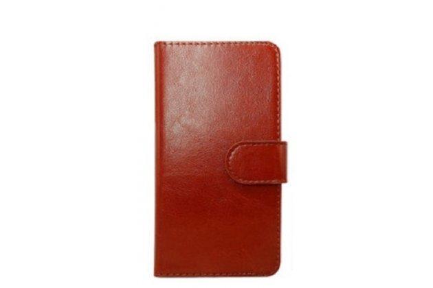 Фирменный чехол-книжка для Leagoo Alfa 4 с визитницей и мультиподставкой коричневый кожаный