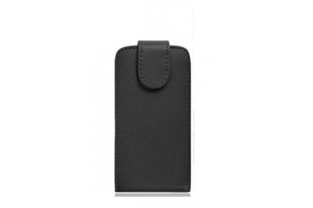 """Фирменный вертикальный откидной чехол-флип для Leagoo Alfa 4"""" черный"""