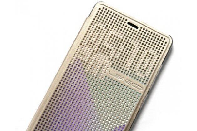 Чехол с мультяшной 2D графикой и функцией засыпания для leagoo elite 1  в точечку с дырочками прорезиненный с перфорацией золотой