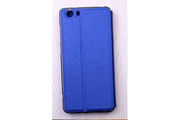 Фирменный оригинальный чехол-книжка для Leagoo Elite 1 синий с окошком для входящих вызовов водоотталкивающий