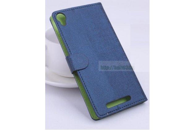 Фирменный чехол-книжка из качественной импортной кожи с мульти-подставкой застёжкой и визитницей для Leagoo Elite 2 синий