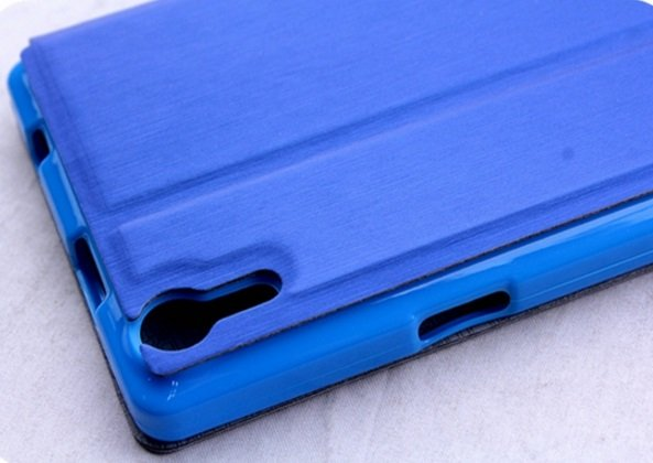 Фирменный оригинальный чехол-книжка для Leagoo Elite 2 синий с окошком для входящих вызовов водоотталкивающий