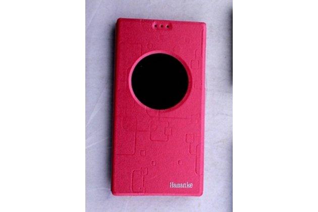Фирменный чехол-книжка для Leagoo Elite 3 красный с окошком для входящих вызовов водоотталкивающий