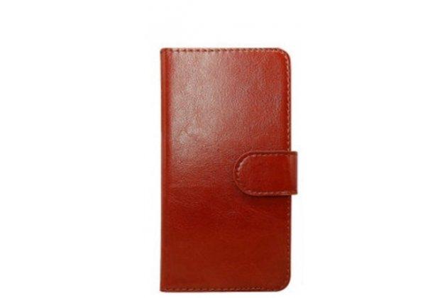 Фирменный чехол-книжка для Leagoo Elite 3 с визитницей и мультиподставкой коричневый кожаный
