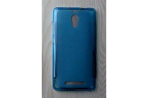 Фирменная ультра-тонкая полимерная из мягкого качественного силикона задняя панель-чехол-накладка для Leagoo Elite 4 голубая