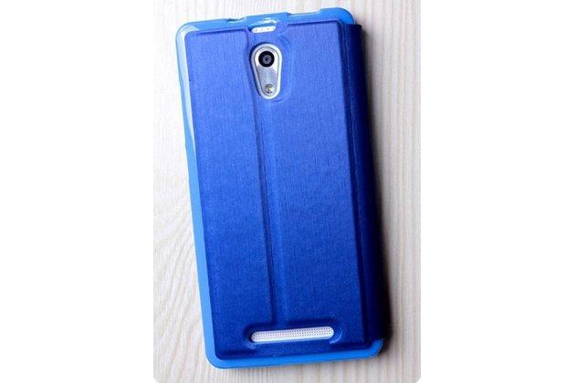Фирменный чехол-книжка для Leagoo Elite 4 синий с окошком для входящих вызовов водоотталкивающий