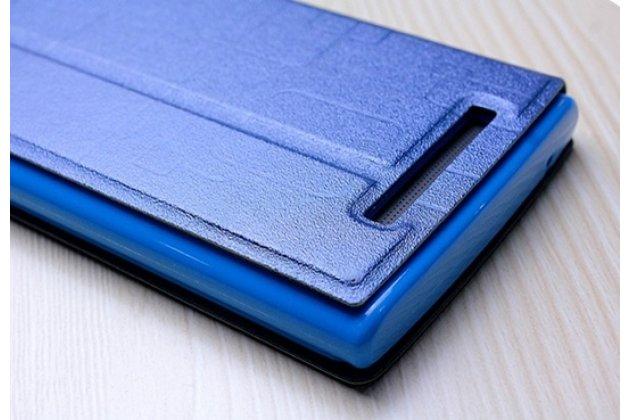 Фирменный оригинальный чехол-книжка для Leagoo Elite 5 синий с окошком для входящих вызовов водоотталкивающий