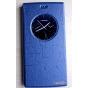 Фирменный оригинальный чехол-книжка для Leagoo Elite 5 синий с окошком для входящих вызовов водоотталкивающий..