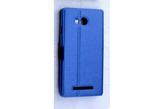Фирменный чехол-книжка для Leagoo Lead 5 синий с окошком для входящих вызовов водоотталкивающий