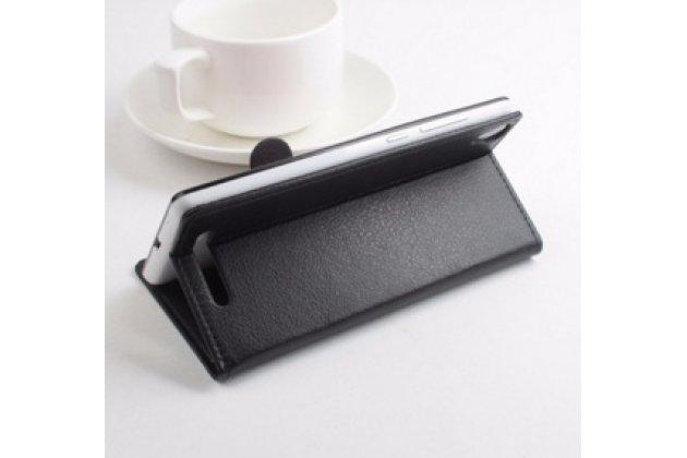 Фирменный чехол-книжка из качественной импортной кожи с мульти-подставкой застёжкой и визитницей для Лего Лид 5  черный