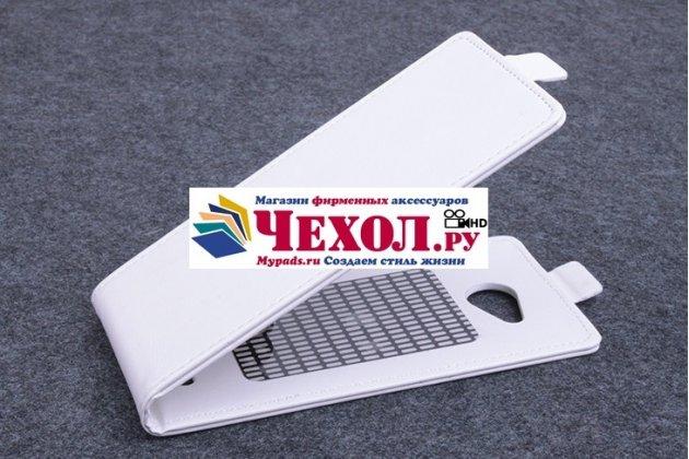 """Фирменный вертикальный откидной чехол-флип для  Leagoo Lead 5 белый из натуральной кожи """"Prestige"""" Италия"""