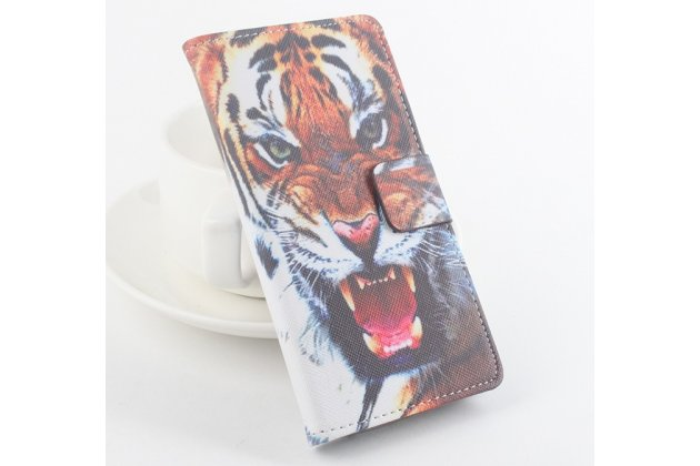 Фирменный уникальный необычный чехол-подставка для Leagoo Lead 5  тематика Тигр