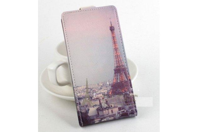 Фирменный вертикальный откидной чехол-флип для  Leagoo Lead 5 тематика Париж
