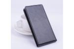 """Фирменный оригинальный вертикальный откидной чехол-флип для  Leagoo Lead 5 черный из натуральной кожи """"Prestige"""" Италия"""