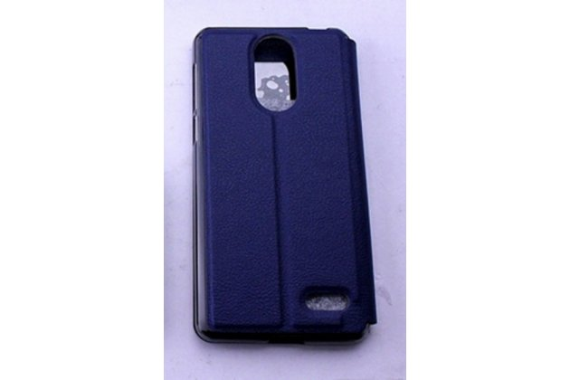 Фирменный оригинальный чехол-книжка для Leagoo M5 5.0 синий с окошком для входящих вызовов водоотталкивающий