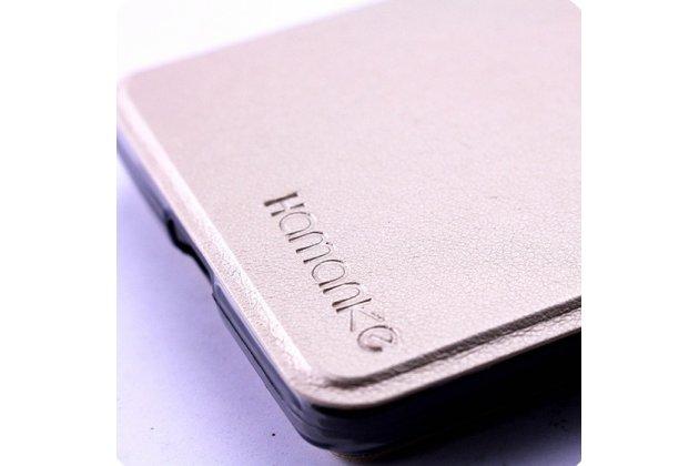 Фирменный оригинальный чехол-книжка для Leagoo M5 5.0 золотой с окошком для входящих вызовов водоотталкивающий