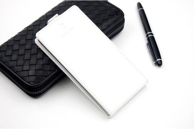"""Фирменный оригинальный вертикальный откидной чехол-флип для  Leagoo M5 5.0"""" белый кожаный"""