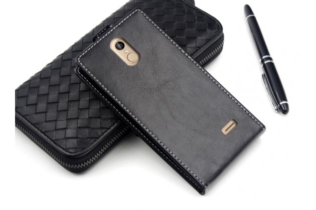 """Фирменный оригинальный вертикальный откидной чехол-флип для Leagoo M5 5.0"""" черный кожаный"""