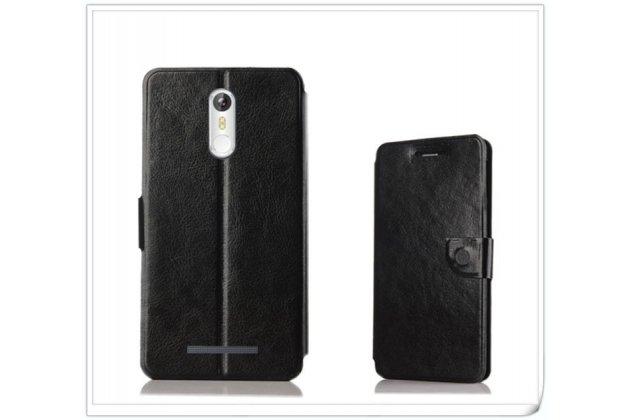 Фирменный чехол-книжка из качественной водоотталкивающей импортной кожи на жёсткой металлической основе для Leagoo M8 / M8 Pro черный