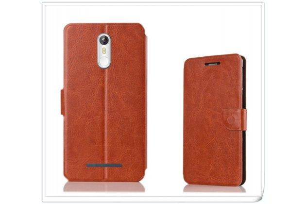 Фирменный чехол-книжка из качественной водоотталкивающей импортной кожи на жёсткой металлической основе для Leagoo M8 / M8 Pro коричневый