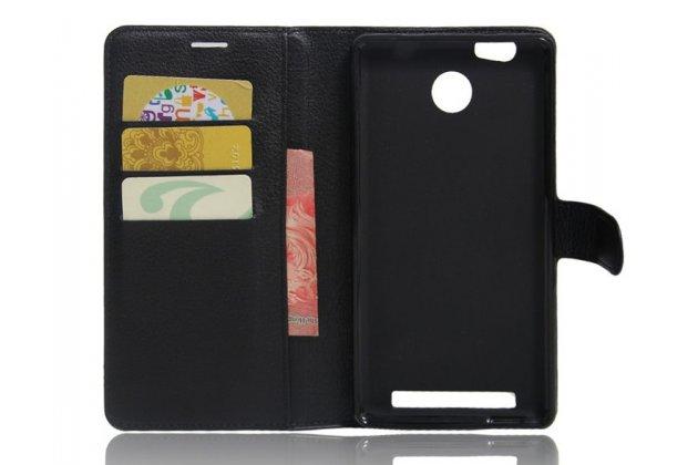 Фирменный чехол-книжка из качественной импортной кожи с подставкой застёжкой и визитницей для Leagoo Shark 1 черный