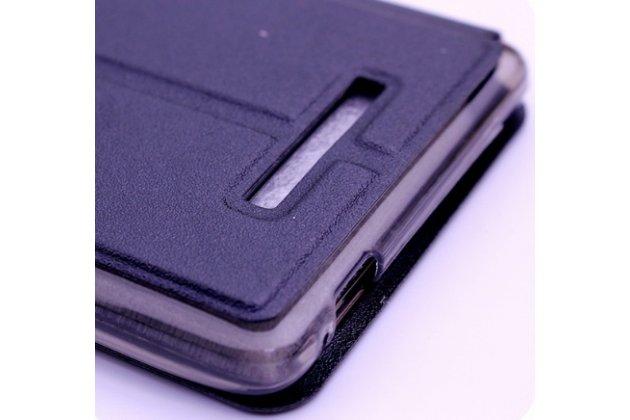 Фирменный чехол-книжка для Leagoo T1 Plus 5.5 черный с окошком для входящих вызовов водоотталкивающий
