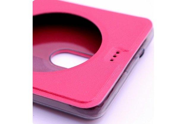 Фирменный чехол-книжка для Leagoo T1 Plus 5.5 красный с окошком для входящих вызовов водоотталкивающий