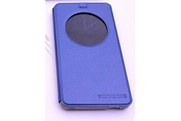Фирменный чехол-книжка для Leagoo T1 Plus 5.5 синий с окошком для входящих вызовов водоотталкивающий