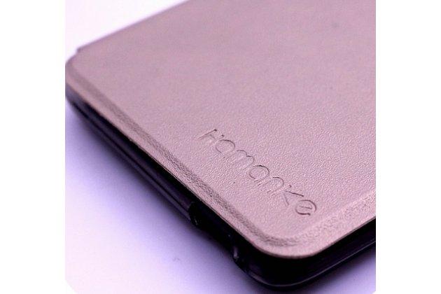 Фирменный чехол-книжка для Leagoo T1 Plus 5.5 золотой с окошком для входящих вызовов водоотталкивающий
