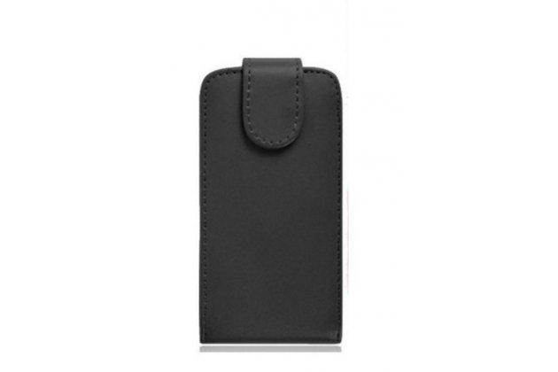 Фирменный вертикальный откидной чехол-флип для Leagoo T1 Plus 5.5 черный из натуральной кожи