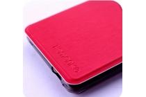 Фирменный оригинальный чехол-книжка для Leagoo T1 красный с окошком для входящих вызовов водоотталкивающий