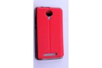 Фирменный оригинальный чехол-книжка для Leagoo Z5 красный с окошком для входящих вызовов водоотталкивающий