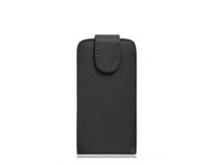 Фирменный вертикальный откидной чехол-флип для Leagoo Z5 черный из натуральной кожи ..
