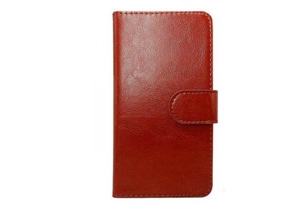 Фирменный чехол-футляр-книжка для Leagoo Lead 1 коричневый кожаный
