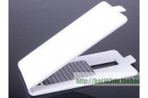 Фирменный вертикальный откидной чехол-флип для Leagoo Lead 1 белый из натуральной кожи Prestige Италия